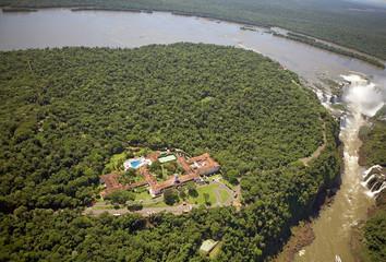View of Belmond Hotel das Cataratas and Iguazu Falls, Brazil