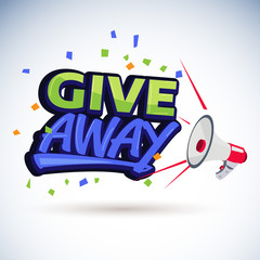 """megaphone shouting out with """"give away"""" text or typographic - vector"""