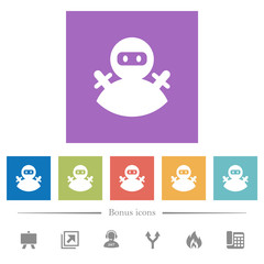 Ninja avatar flat white icons in square backgrounds