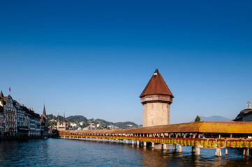 Lucerne Chapel Bridge in bright evening, Switzerland Wall mural