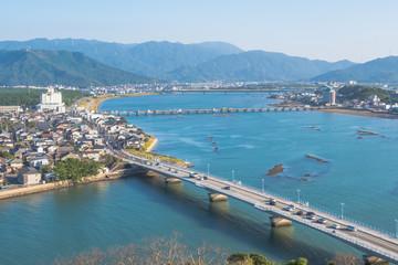 Cityscape of Karatsu city, view from the top of Karatsu castle, Saga, Kyushu, Japan