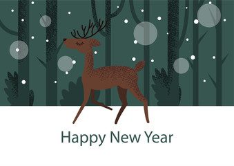 Holiday flat deer illustration