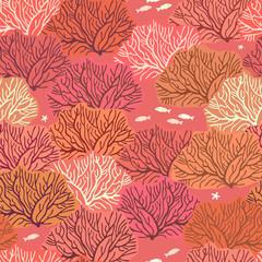 Бесшовный узор на коралловом фоне с красочными изображениями кустов кораллов, между ними располагаются маленькие светлые рыбки и морские звёзды.