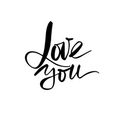 Love calligraphy inscription. Love You. Modern brush calligraphy.