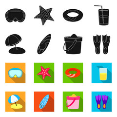 Vector illustration of equipment and swimming icon. Collection of equipment and activity vector icon for stock.