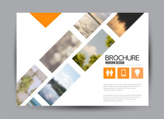 Flyer, brochure, billboard template design landscape orientation for business, education, school, presentation, website. Orange color. Editable vector illustration. Wall mural