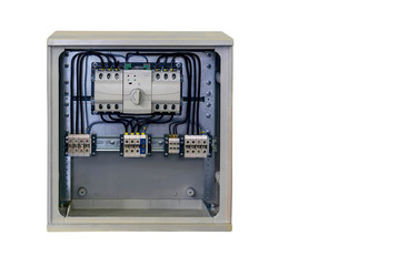 modern electrical cabinet with electronic elements of monitoring and control, close-up