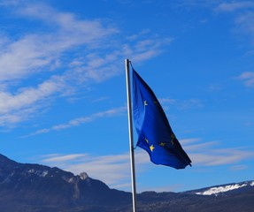 European union flag fluttering in the wind