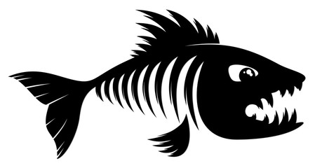 Скелет хищной морской рыбы.