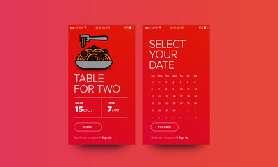 Book A Table App with Paste Vector Illustration