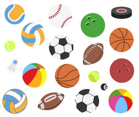 Set of vector realistic sport balls for football, soccer, rugby, tennis, volleyball, basketball, baseball, volleyball, American Football, badminton, gulf, hockey puck isolated on background.