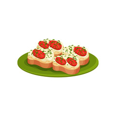 Tasty toasts with cheese cream and red tomatoes. Appetizing snacks on green plate. Flat vector design