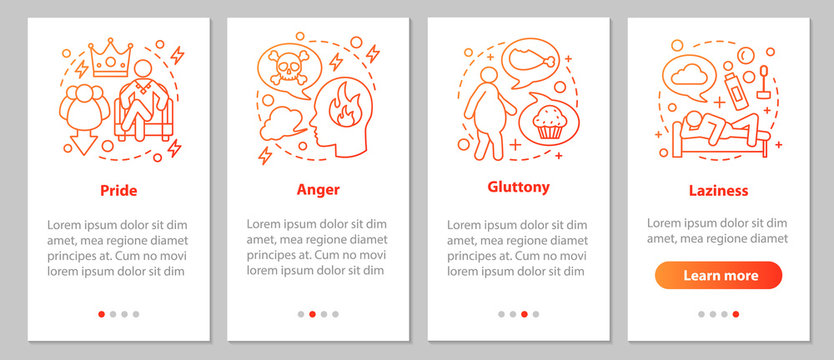 Deadly sins onboarding mobile app page screen with linear concep