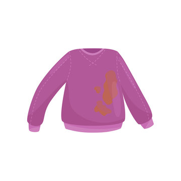 Flat vector icon of purple woolen sweater with big brown stains. Dirty clothes for washing