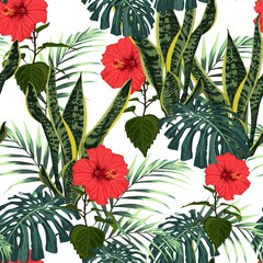 Floral seamless pattern, dark and bright green leaf and plant on white background, red hibiscus flowers and palm leaves.