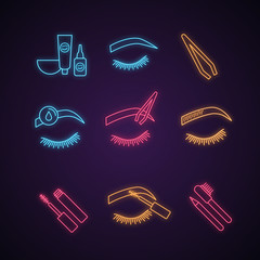 Eyebrows shaping neon light icons set