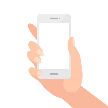 Female hand holding white phone with blank screen isolated on white. Vector illustration in simple flat style.