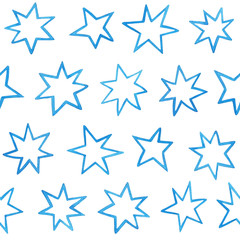 Seamless pattern with watercolor blue stars on white background.