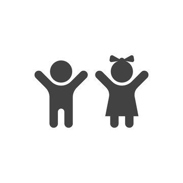 Vector minimal silhoutte kids icon