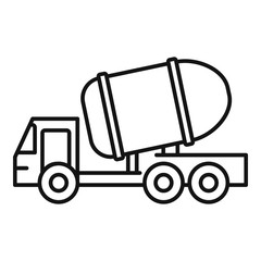 Cement truck icon. Outline cement truck vector icon for web design isolated on white background