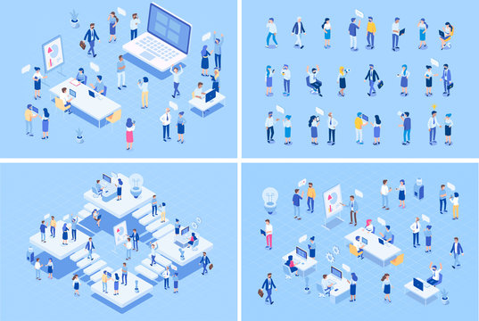 Teamwork, cooperation. Office people.Isometric people vector set.  Isometric office workspace with people working together. Coworking. Flat vector illustration.