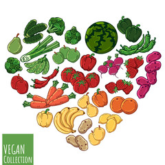 Group of vector colorful illustrations on the vegetarianism theme: various types of fresh vegetables and fruits. Zero waste. Eco lifestyle. Isolated objects for your design.