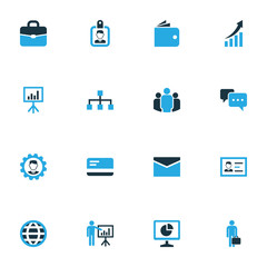 Business icons colored set with envelope, billfold, access and other whiteboard  elements. Isolated vector illustration business icons.