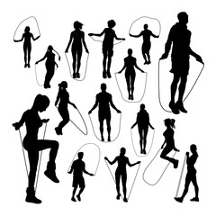 People jumping rope silhouettes. Good use for symbol, logo, web icon, mascot, sign, or any design you want.