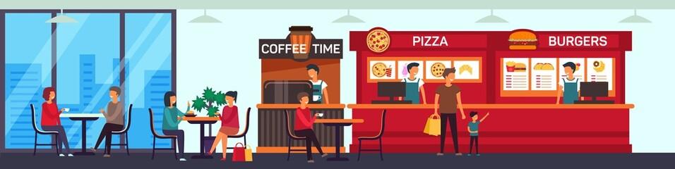 Cafe and fast food shop at supermarket floor