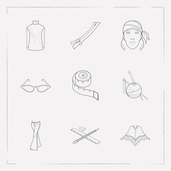Set of clothing icons line style symbols with drawing, cat eye sunglasses, high bias roll and other icons for your web mobile app logo design.