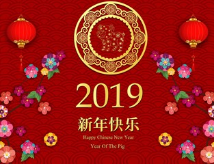 Happy chinese new year 2019 with hanging lanterns and colorful flowers. Chinese characters mean Happy New Year - Vector