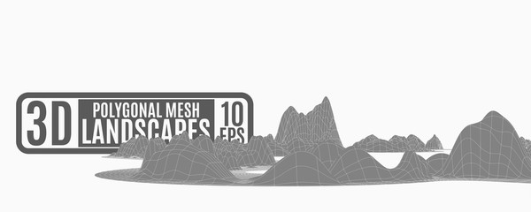 bright illustration with abstract polygonal mountains of nets