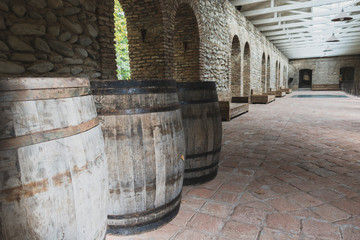 Old wooden wine barrels