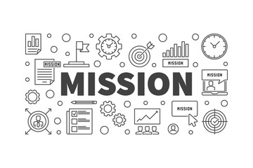 Mission vector horizontal banner or illustration in outline style