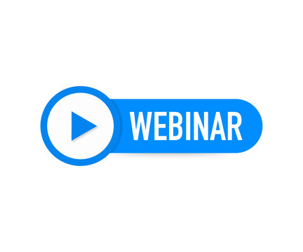Webinar Icon, flat design style with blue play button. Vector illustration.