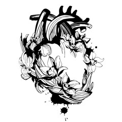 Blooming loving human anatomical heart hand drawn floral pattern