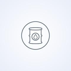 Oil barrel, vector best gray line icon