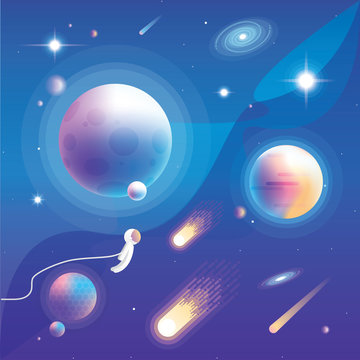 Universe vector illustration with planets, comets, stars, galaxies and astronaut