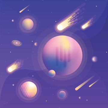 Abstract universe scene with vibrant colored planets, galaxies, falling asteroids and comets