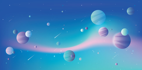 Universe with colorful planets and falling comets