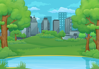 Summer, spring day background. Lake or river with lush green trees and bushes. Green meadows and city in the background.