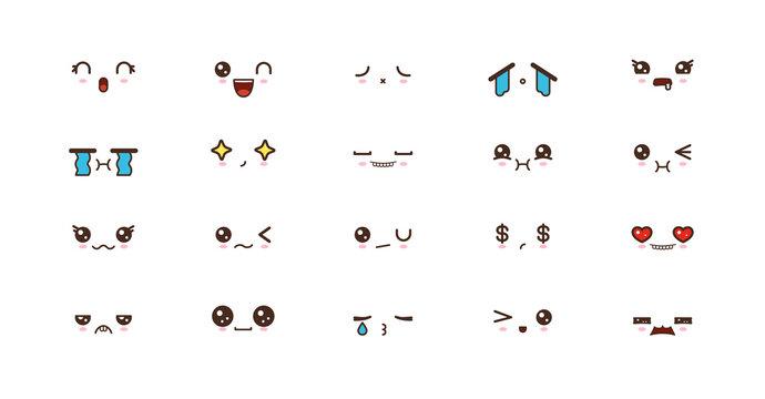 Kawaii smile emoticons. Japanese emoji