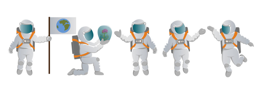 A set of astronauts. People in space suits in various poses. Space exploration. Colonization of Mars and other planets. Vector character
