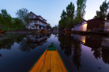 Boat house Dal lake Srinagar Kashmir India
