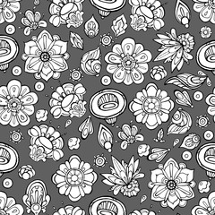 Vector seamless pattern with line art flowers on gray background