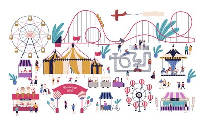 Tiny people in amusement park with various attractions, rides, circus tent, kart track, stalls with cotton candy and ice cream. Area for family entertainment. Vector illustration in flat style.