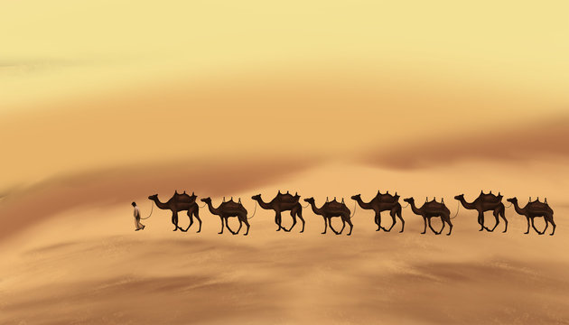 The landscape of the east, the desert, a caravan with camels on the sands. The element of sand storm.