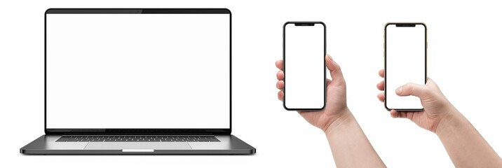 Laptop and smartphones with blank screen.