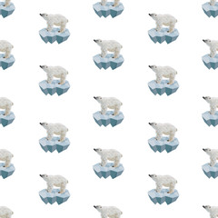 Polar bear low poly seamless pattern