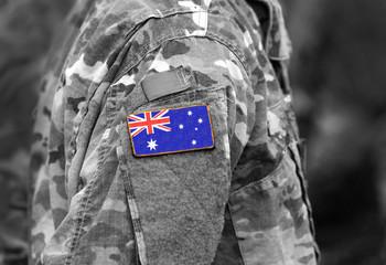 Flag of Australia on soldier arm. Flag of Australia on military uniforms (collage).